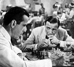 Bogart and Lorre in 'Casablanca' with chessboard and cocktail