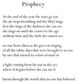 Image-- 'Prophecy,' by W.S. Merwin