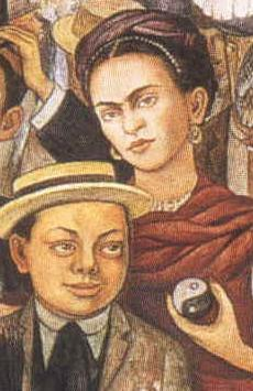 By Diego Rivera: Frida Kahlo holding yin-yang symbol