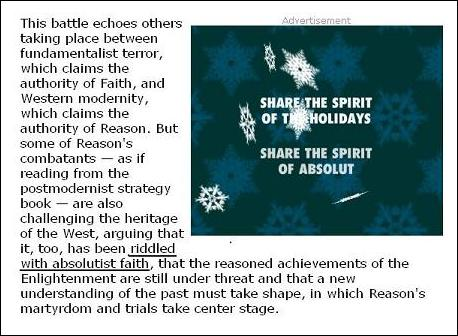 Edward Rothstein on faith and reason, with snowflakes in an Absolut Vodka ad, NYT 12/20/03