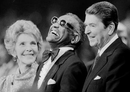 Ray Charles with Nancy and Ronald Reagan