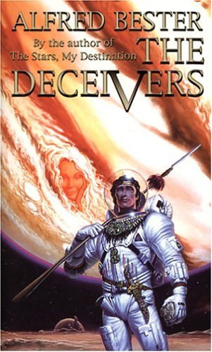 IMAGE- Rogue Winter with spear, Jupiter in background, on cover of 'The Deceivers,' a novel by Alfred Bester.