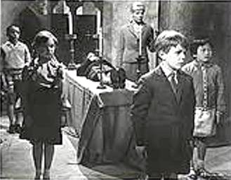 Image-- Children of the Damned take sanctuary in St. Dunstan's Church.