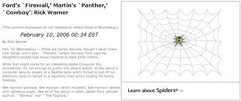 From Bloomberg, a spider ad