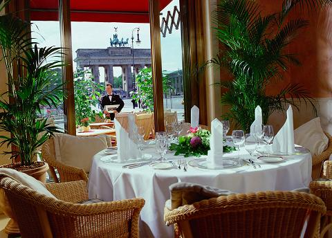 Berlin restaurant with view of Brandenburg Gate
