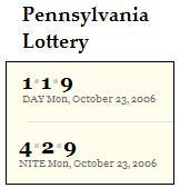 PA lottery Oct. 23, 2006