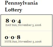PA lottery Nov. 5, 2006: Midday 804 Evening 008