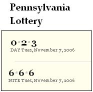 PA lottery Nov. 7, 2006: Mid-day 023, Evening 666