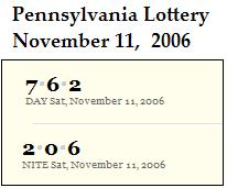 PA lottery Nov. 11, 2006: Mid-day 762, Evening 206