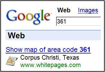 Google search for 361: Corpus Christi area code