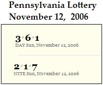 PA Lottery Nov. 12, 2006: Mid-day 361, Evening 217