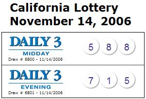 CA lottery Nov. 14, 2006: Mid-day 588, Evening 715