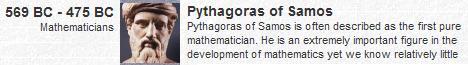 Pythagoras, born ca. 569 B.C.