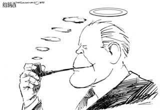 Cartoon of Gerald Ford with halo