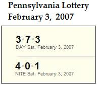  PA Lottery 2/3/07: Day 373, Evening 401