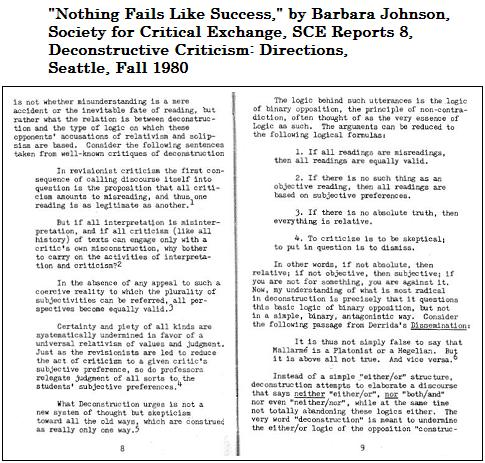 Nothing Fails Like Success, by Barbara Johnson