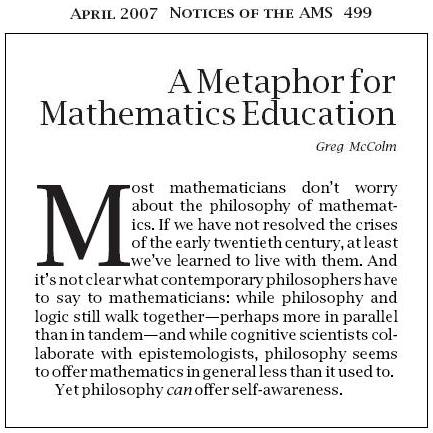 Mathematics and Philosophy, AMS Notices, April 2007