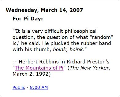 Quotation for Pi Day: Boink, Boink