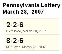 PA Lottery March 28, 2007: Mid-day 226, Evening 826