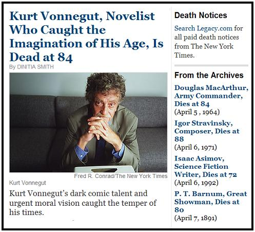 Kurt Vonnegut online obit, NYT April 12, 2007