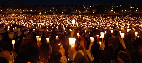 Candlelight vigil at Virginia Tech, April 17, 2007