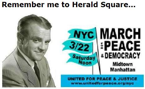 James Cagney and Herald Square peace march ad