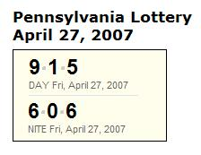 PA lottery April 27, 2007: Midday 915, Evening 606