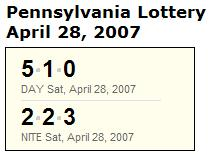 PA Lottery April 28, 2007: Midday 510, Evening 223