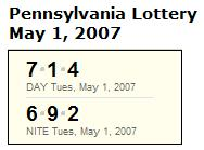 PA Lottery May 1, 2007: Mid-day 713, Evening 692