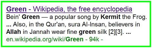 Wikipedia entry - Green