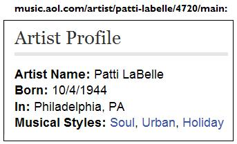 AOL bio of Patti LaBelle