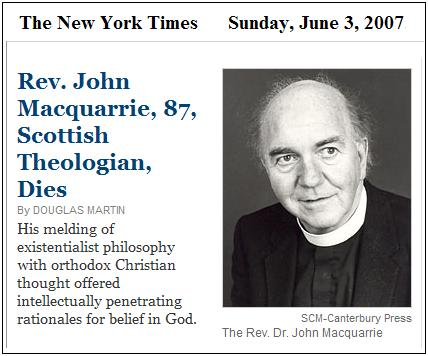 The Rev. John Macquarrie, Scottish Theologian, Dies at 87