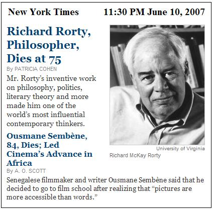 Obituaries: Richard Rorty, Ousmane Sembene