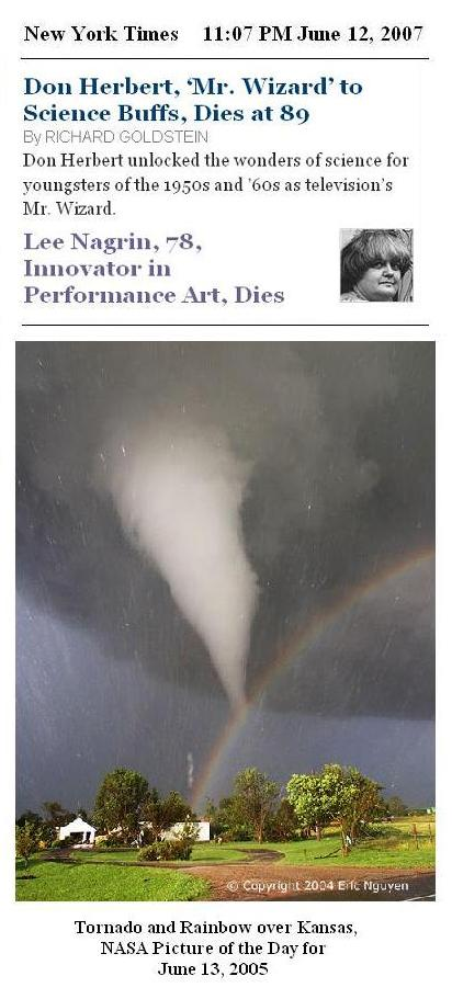 NY Times June 12, 2007-- Obituaries of Mr. Wizard and performance artist Lee Nagrin