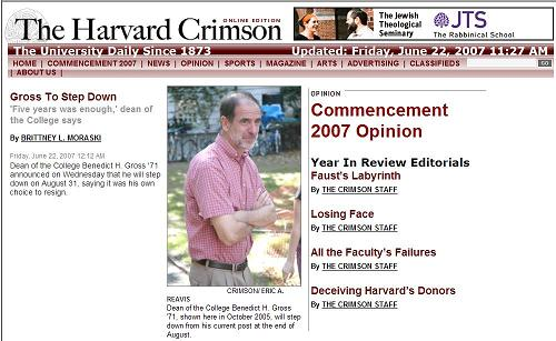 Harvard Crimson: Dean Gross resigns