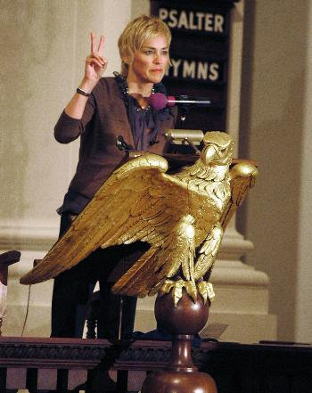IMAGE- Sharon Stone in the Gold Eagle pulpit of Harvard's Memorial Church