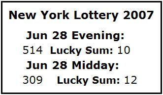 NY Lottery June 28, 2007: Mid-day 309, Evening 514