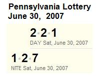 PA Lottery June 30, 2007: Mid-day 221, Evening 127