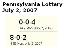 PA Lottery July 2, 2007: Mid-day 004, Evening 802