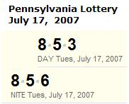 PA Lottery July 17, 2007: Mid-day 853, Evening 856