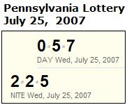 PA Lottery July 25, 2007: Mid-day 057, Evening 225