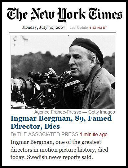 Ingmar Bergman Dies; NYT front page