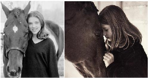 Scarlett Johansson and friend in The Horse Whisperer