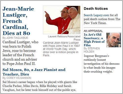 Cardinal Lustiger of Paris and jazz pianist Sal Mosca, New York Times obituaries on August 6, 2007