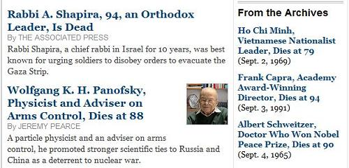 NYT obituaries, Michaelmas 2007, with Wolfgang Panofsky