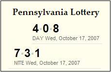 PA Lottery, Oct. 17, 2007: Mid-day 408, Evening 731