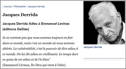 Levinas, and Derrida, on the Adieu