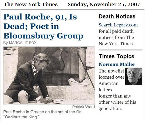 Paul Roche on the set of Oedipus the King, and Norman Mailer, in NY Times obituaries Nov. 25, 2007