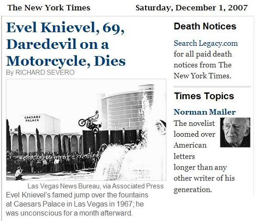 NY Times: Evel Knievel and Norman Mailer
