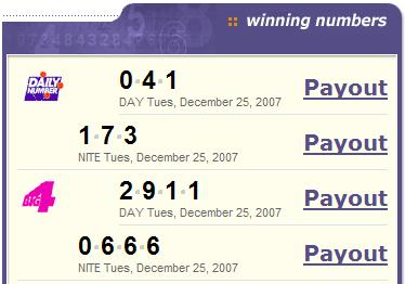PA Lottery Christmas Day: Mid-day 041 and 2911, Evening 173 and 0666